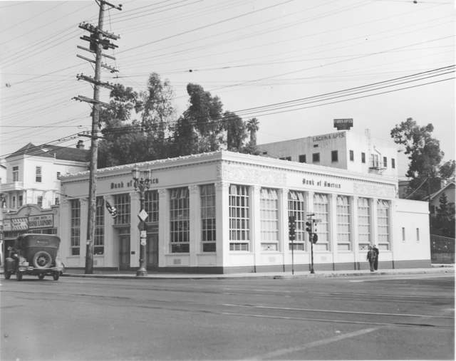 Bank of America branch at Echo Park and Sunset as it appeared in 1942.*